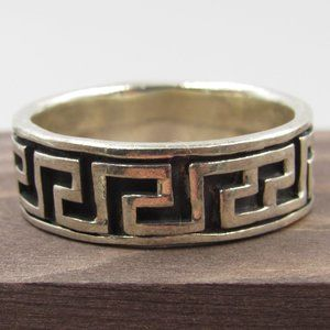 Size 15 Sterling Silver Large Maze Style Band Ring